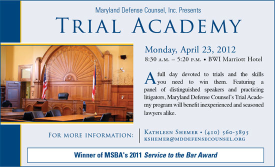 Trial Academy: Monday, April 23, 2012