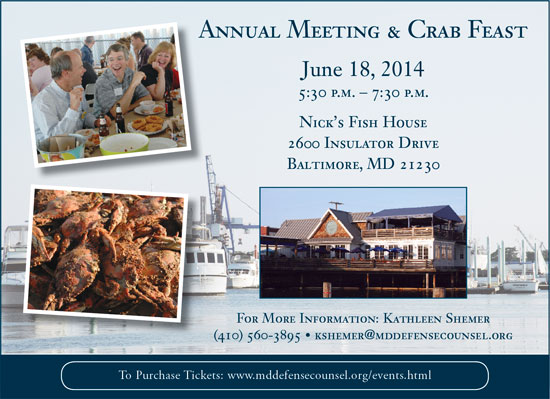 Annual Meeting and Crab Feast: June 18, 2014